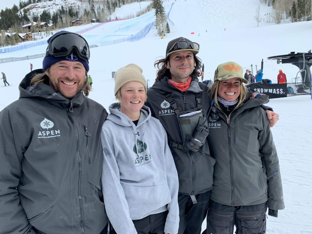Casey Puckett, left, stands with U16 skier Jake Morgan and two other AVSC coaches this past winter before Morgan competed in the Pokal Loka international children's competition in Sovenia. Puckett was recently named the head technical coach for the women's Europa Cup alpine team by U.S. Ski and Snowboard. (Photo by Austin Colbert/The Aspen Times)