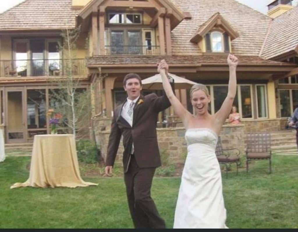 Jason Thomas and Dava Riivald at their August 23, 2008, wedding in Aspen Glen.