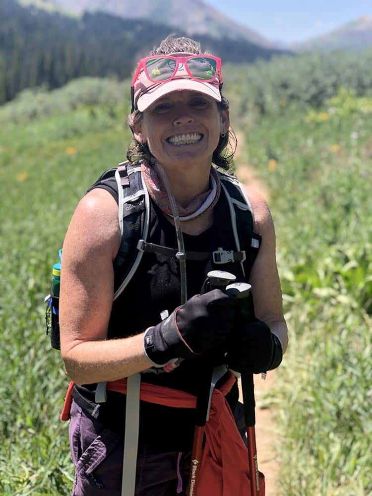 A beaming Kristin Kenny on her birthday hike to Crested Butte with friends.