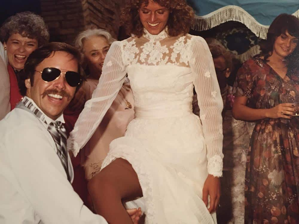 R.J. Gallagher, Jr. and Nancy Kaye Dwight at their August 23, 1980, wedding in Boulder.