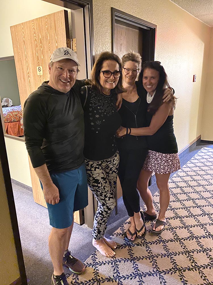 Our Aspen neighbors just across the hall at the Old Town Inn - Gus Anderson, Audrey Davis, Kerri Brooks and Stephanie Thurston. (Missing from photo because she was working - Laura Ashley.)