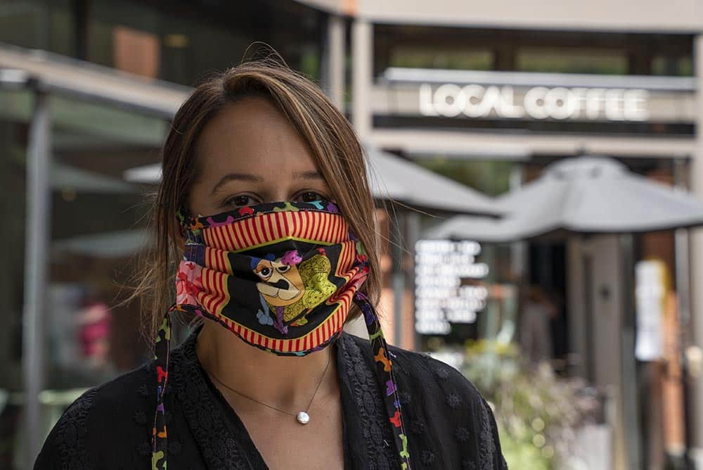 Mask by Marie Kelly, a textile designer by training who has personally designed, sewn and donated more than 2000 masks to hospitals, clinics, and those most in need In our community since the pandemic began.