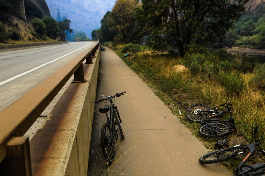 Bikes lay abandon Sunday in Glenwood Canyon Sunday near Glenwood Springs. Multiple bikes lay abandon in that area.