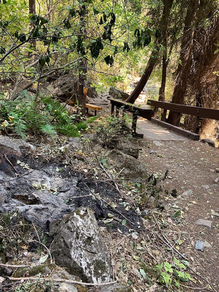 The fire burned close, but not onto this bridge — one of seven along the Hanging Lake Trail.