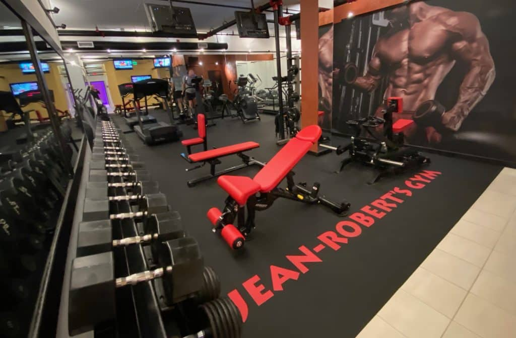 Fitness equipment at Jean-Robert's Gyms have been rearranged to provide maximum physical distance for members, and the gyms are not offering any day passes for non-members as yet another way to minimize exposure risk to COVID-19.