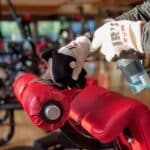Jean-Robert's Gym is providing gloves for all members, which are mandatory while working out.