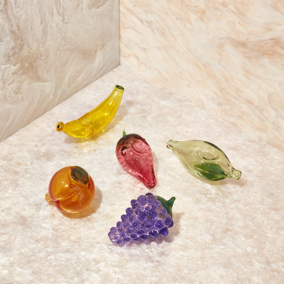 Edie Parker Flower glass fruit pipes (from $95.)