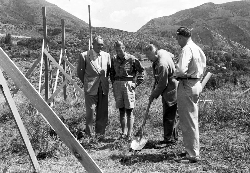Aspen visionary Walter Paepcke, credited with founding the Aspen Music Festival and School and Aspen Institute, among other endeavors, at the groundbreaking for the Aspen Health Institute on the Aspen Institute grounds, along with Dr. Marvin Stevens, Herbert Bayer and Fritz Benedict.