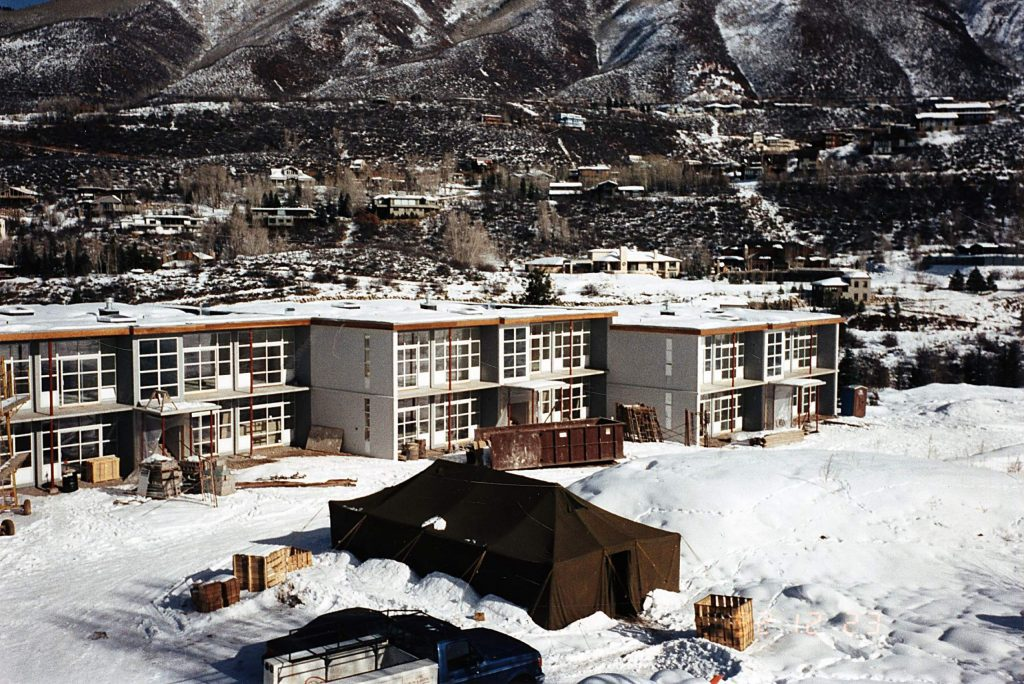 The remodeling construction of the Aspen Meadows in 1992.
