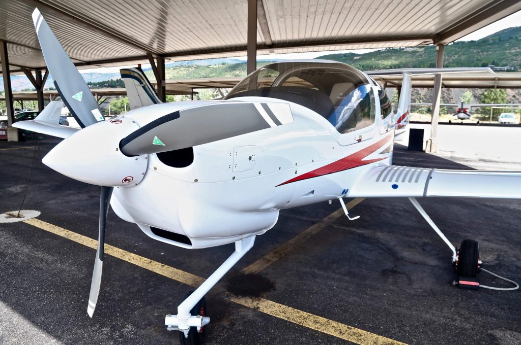 One of the Aspen Flight Academy's new Diamond DA40 NG aircrafts on Tuesday, July 28, 2020, at the Aspen/Pitkin County Airport. (Photo by Austin Colbert/The Aspen Times)