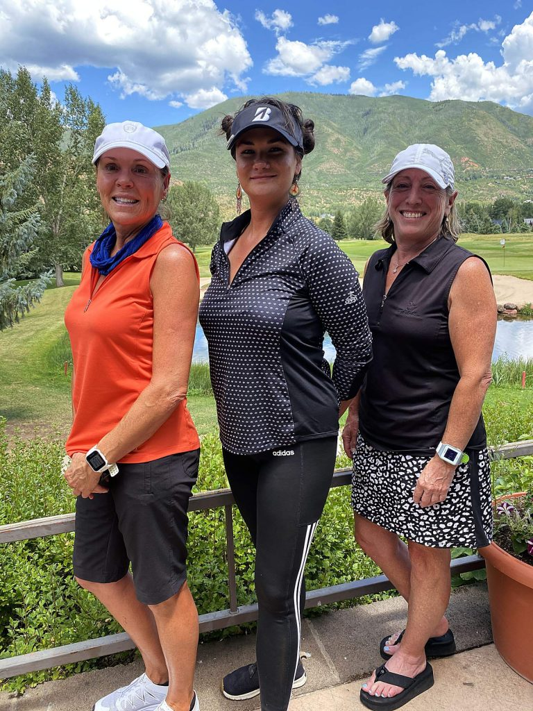 Maria Tafuri (left) was the winner of the city of Aspen's Match Play tournament finals held July 18. In second was Shotee Fields, and Joanne Kates placed third.