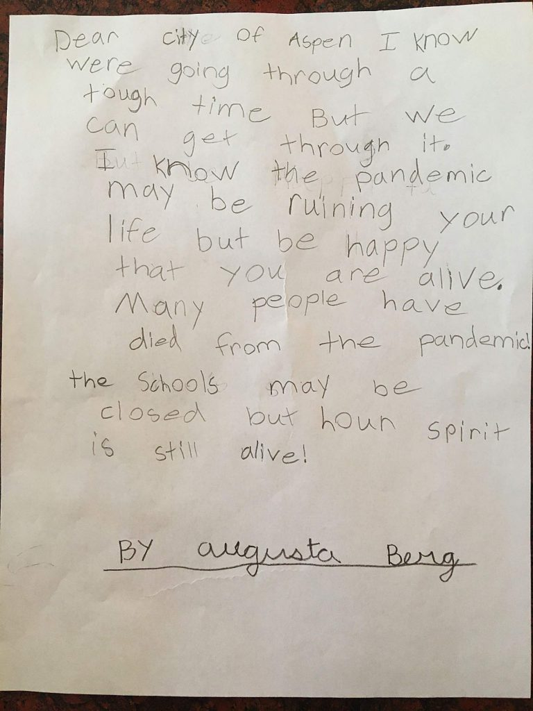 Augusta Berg, a 9-year-old local resident, recently handed this letter she wrote to her mother.