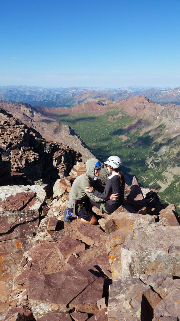 After climbing up Pyramid Peak on Aug. 1 with guide Scott Eden of Aspen Expeditions, Charles Burrus popped the question to Megan Trainor. She said yes, and the Austin, Texas, couple plan to get married in September at the Prince of Peace Chapel in Aspen.