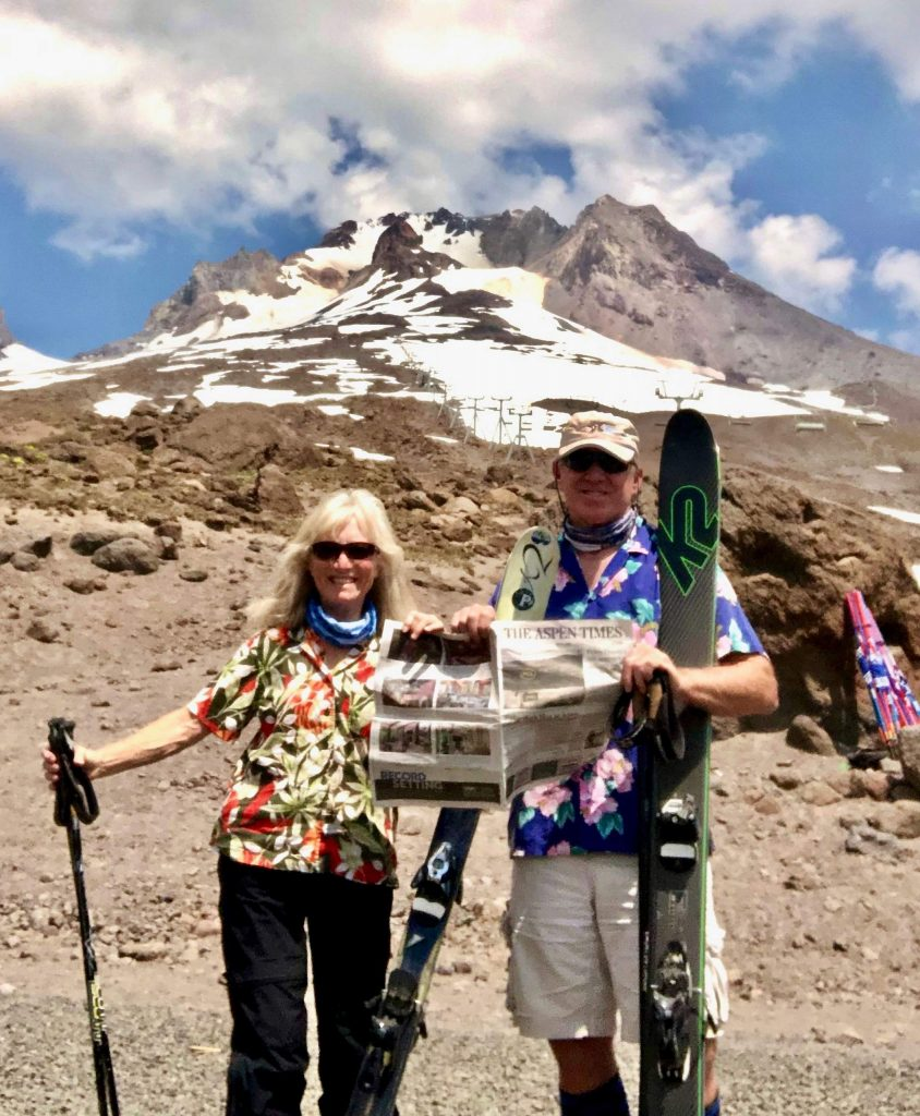 Polly Ross and Ian Long celebrated Polly's birthday (July 28) by skiing at Timberline Mount Hood, Oregon, the first stop on their camping trip in the Pacific Northwest. Ross said skiing