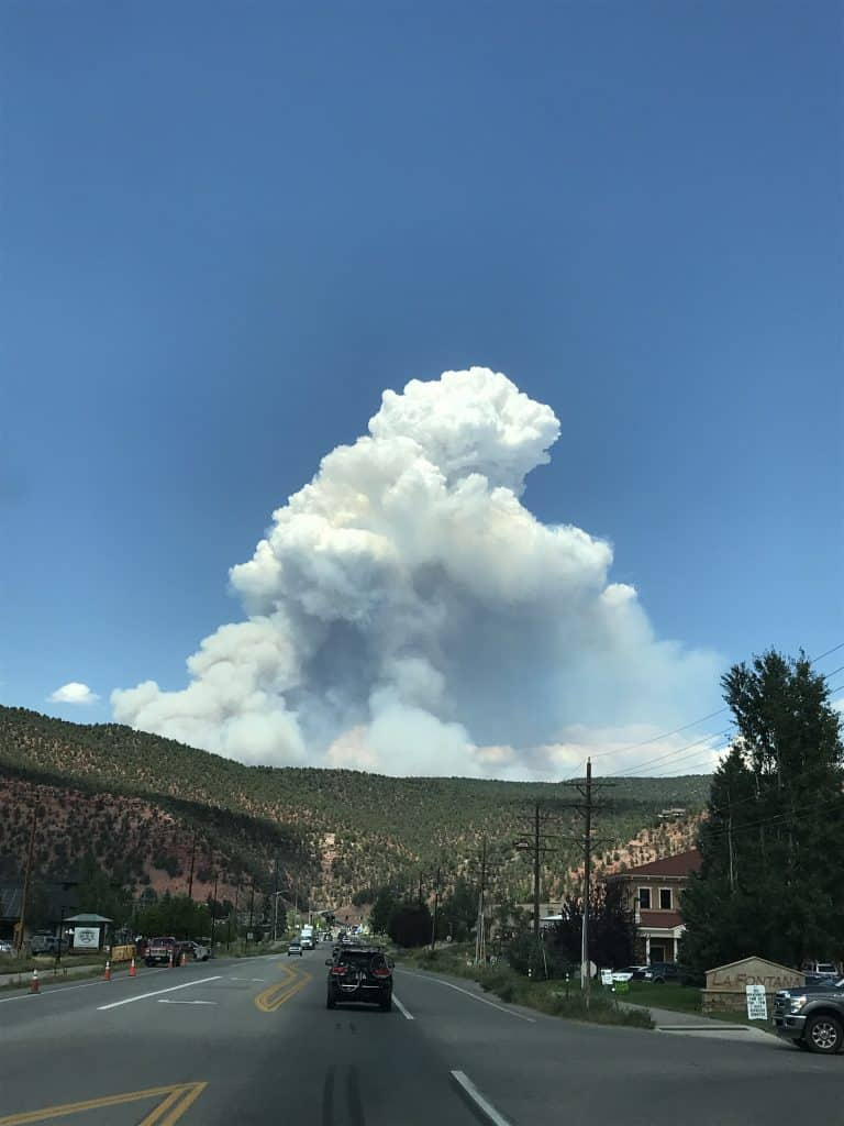 The fire plume from the wildfire in Glenwood Canyon as it appeared Monday from Highway 133 in Carbondale.