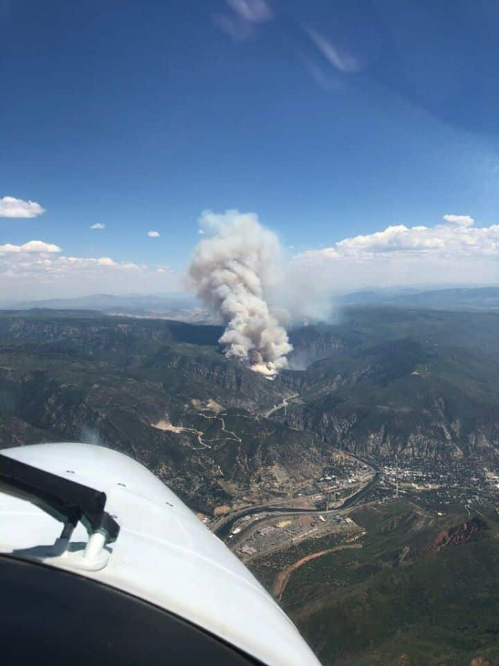 The fire burning Monday in Glenwood Canyon has closed Interstate 70.