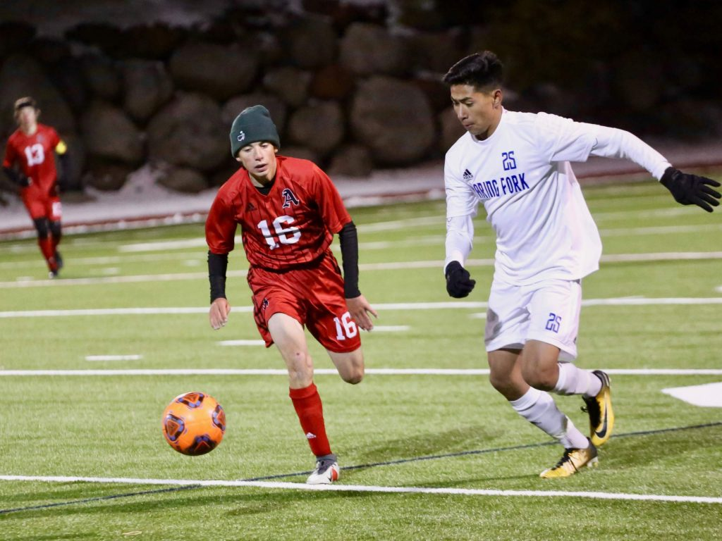 Aspen High School boys soccer hosts No. 4 Roaring Fork on Friday, Oct. 11, 2019, under the lights on the AHS turf. The Rams won 3-2 in overtime. (Photo by Austin Colbert/The Aspen Times)