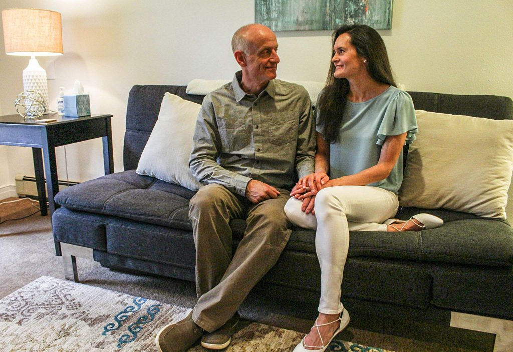 Jeff Cole and Lori Kret, founders of the Aspen Relationship Institute, sit in their home office on Aug. 20, 2020 (Maddie Vincent/Aspen Times Weekly)