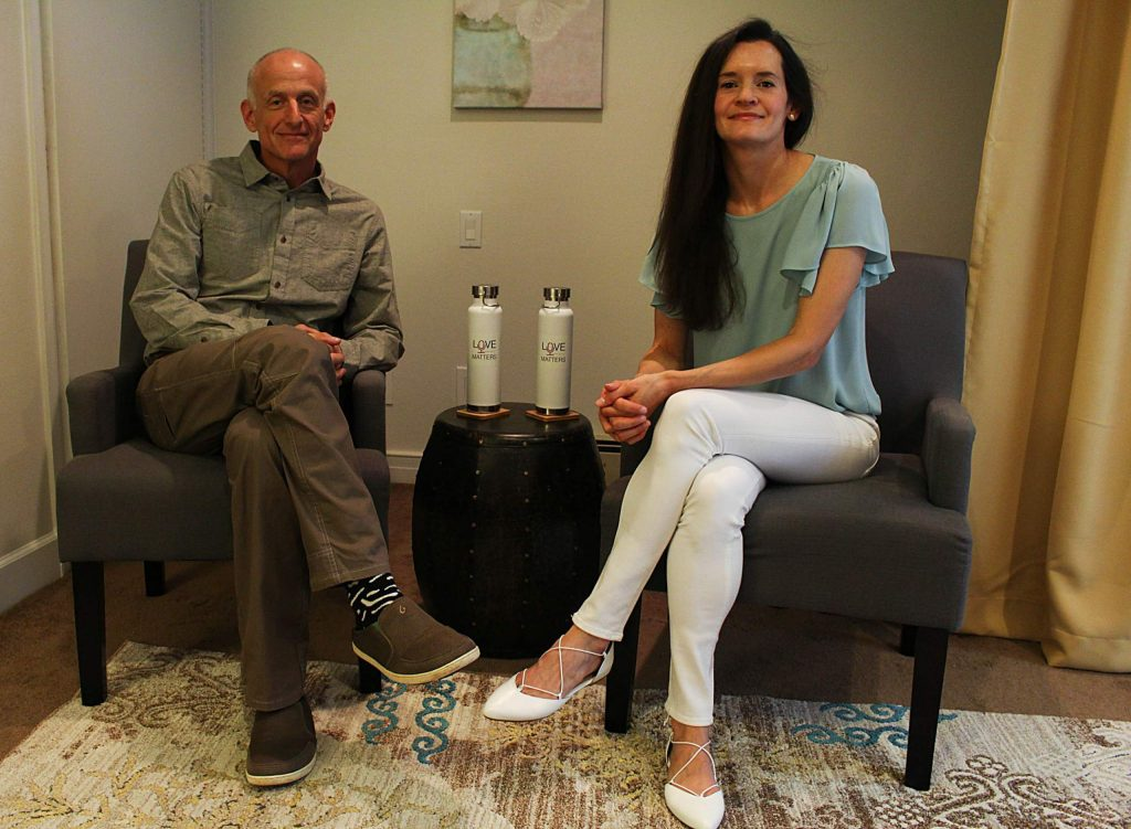 Lori Kret and Jeff Cole of the Aspen Relationship Institute sit in their home office on Aug. 20, 2020. (Maddie Vincent/Aspen Times Weekly)
