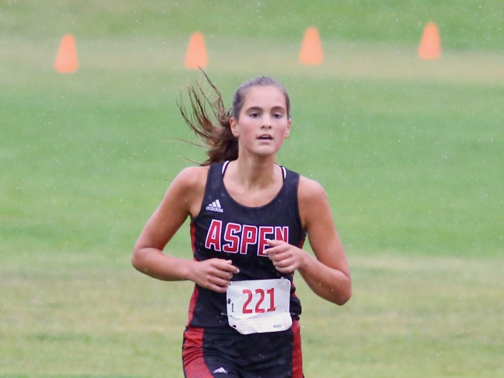 Aspen's Kylie Kenny competes in the Longhorn Invitational cross country meet on Saturday, Aug. 29, 2020, at Crown Mountain Park in El Jebel. (Photo by Austin Colbert/The Aspen Times)