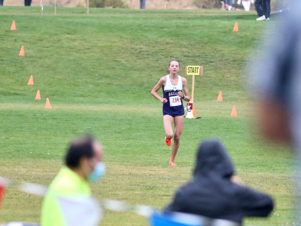 Basalt's Katelyn Maley competes in the Longhorn Invitational cross country meet on Saturday, Aug. 29, 2020, at Crown Mountain Park in El Jebel. (Photo by Austin Colbert/The Aspen Times)