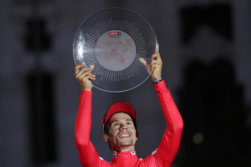 Primoz Roglic of Slovenia celebrates on the podium after winning the La Vuelta cycling race on Sunday, Sept. 15, 2019, in Madrid, Spain.