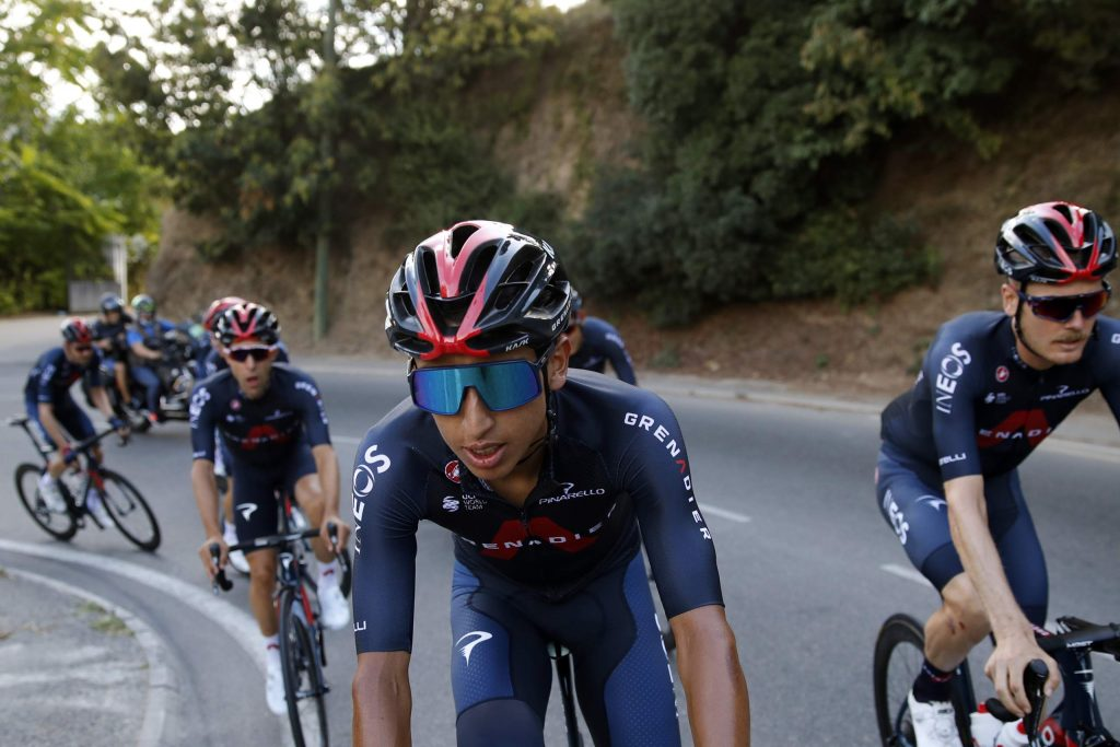 Colombia's Egan Bernal rides during a Thursday, Aug. 27, training session outside Nice, France, ahead of Saturday's Tour de France start. The Tour de France sets off shrouded in uncertainty and riding in the face of the coronavirus pandemic and mounting infections in France.