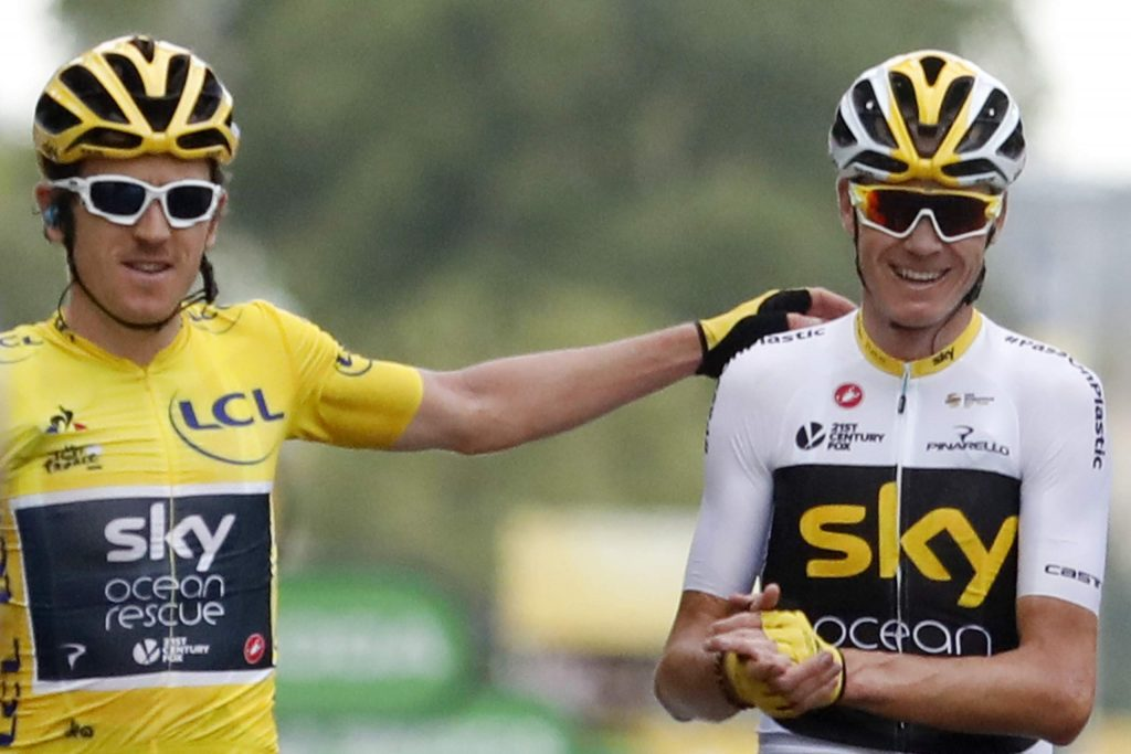 Tour de France winner Britain's Geraint Thomas, wearing the overall leader's yellow jersey, and Britain's Chris Froome, right, cross the finish line of the twenty-first stage of the 2018 Tour de France cycling race in Paris. Former Tour de France champions Chris Froome and Geraint Thomas were both left off the INEOS team for this year's race.
