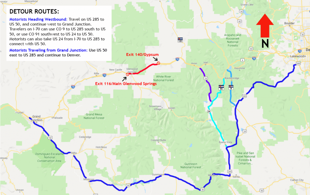 I-70 detour route from CDOT for Grizzly Creek Fire.