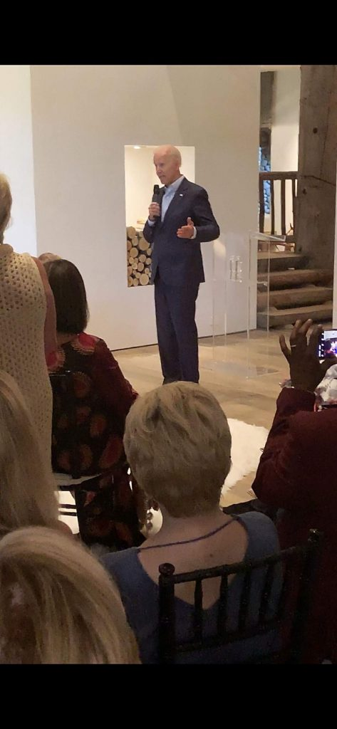 Joe Biden speaks at a private home in Aspen on Aug. 6, 2019, for a fundraiser.