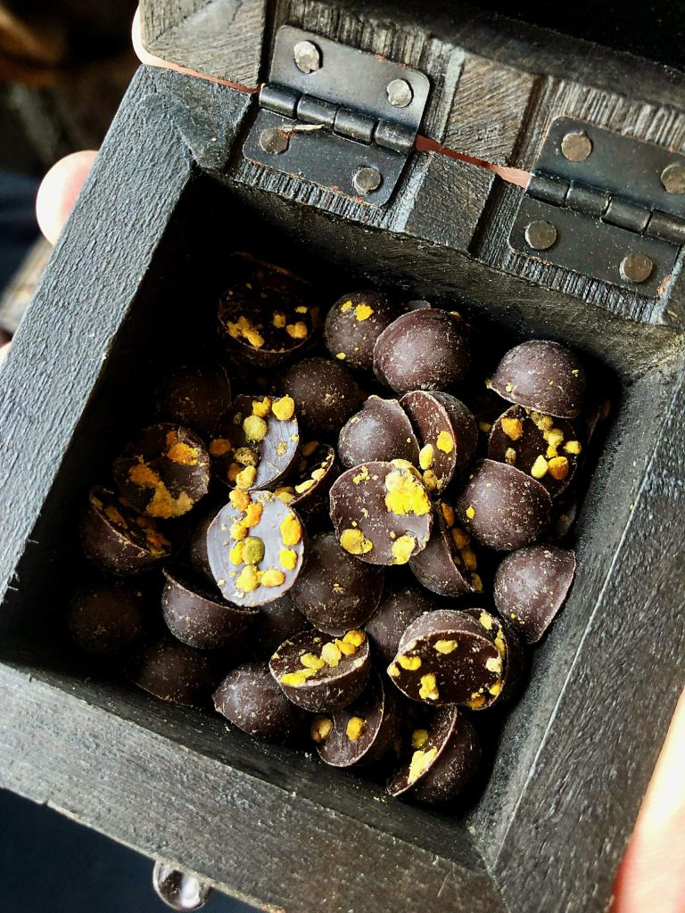Samples studded with bee pollen, a new flavor that nods to chocolate maker Mark Burrows's decade of beekeeping in the Roaring Fork Valley.