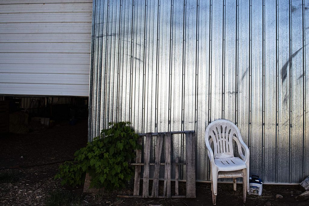 Items lean against a metal storage building at Glassier Open Space in Basalt on Thursday, August 6, 2020. (Kelsey Brunner/The Aspen Times)