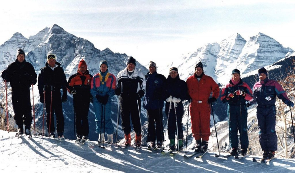 Members of the Crown family, owners of Aspen Skiing Co., and Gerald Hines take time for a photo in 1993 to celebrate HInes' purchase of Aspen Highlands and its merger into Skico.