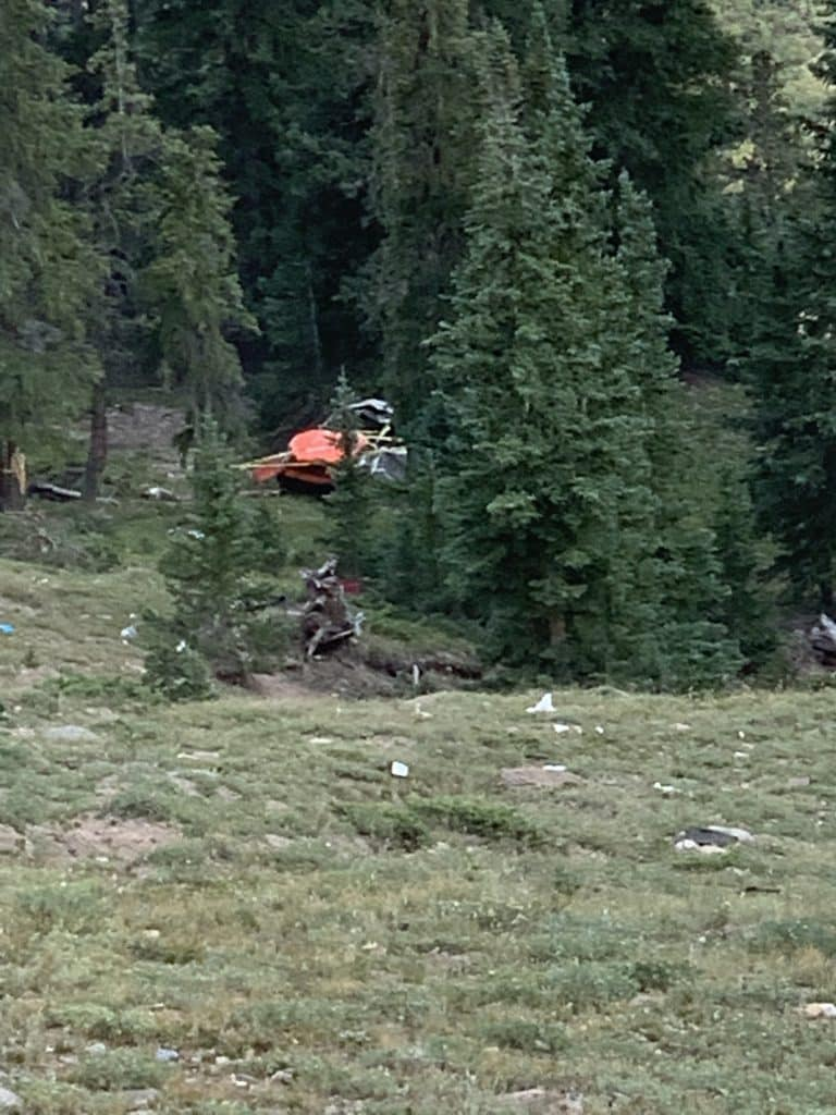 The orange dot is the car that tumbled nearly 500 feet off Independence Pass near the summit late Thursday night. Two women in the vehicle were airlifted to area hospitals.