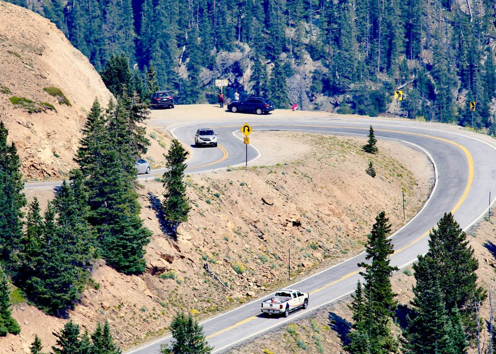 Vehicles make their way over Independence Pass on Saturday, Aug. 15, 2020. After a brief closure because of extra traffic related to the Grizzly Creek Fire, which closed I-70, things were seemingly back to normal in regard to getting over the pass on Saturday. (Photo by Austin Colbert/The Aspen Times)