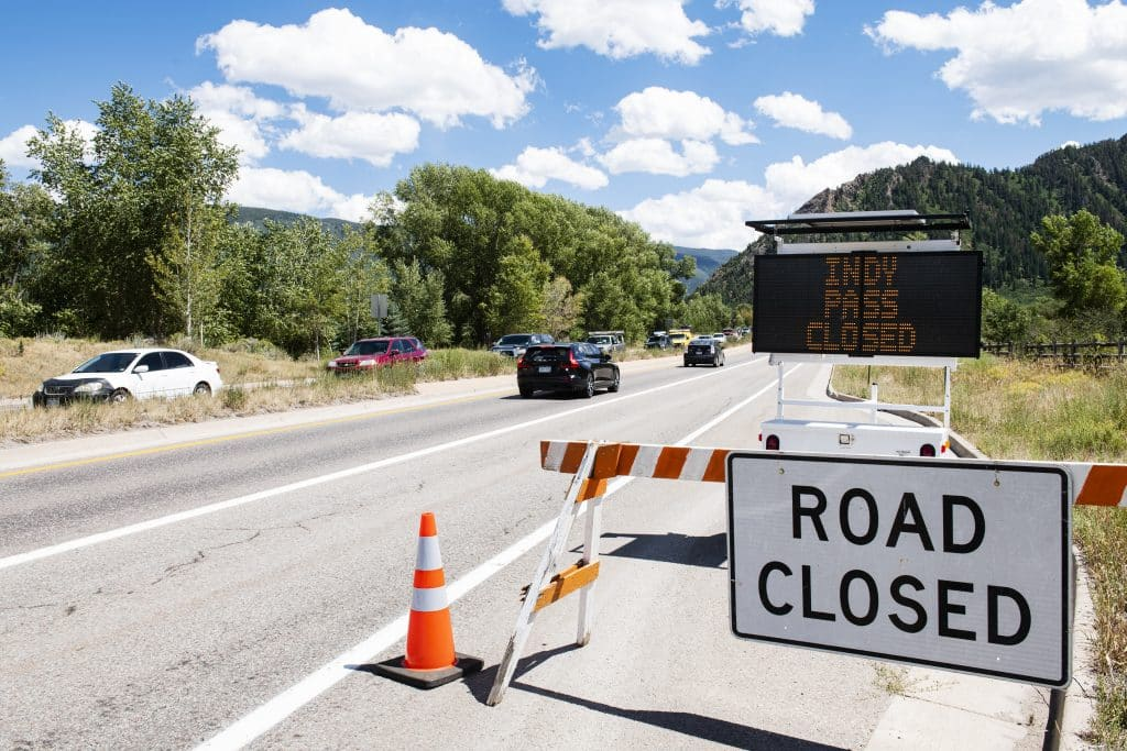 Independence Pass is closed indefinitely until the wildfires are under control and I-70 reopens to traffic.