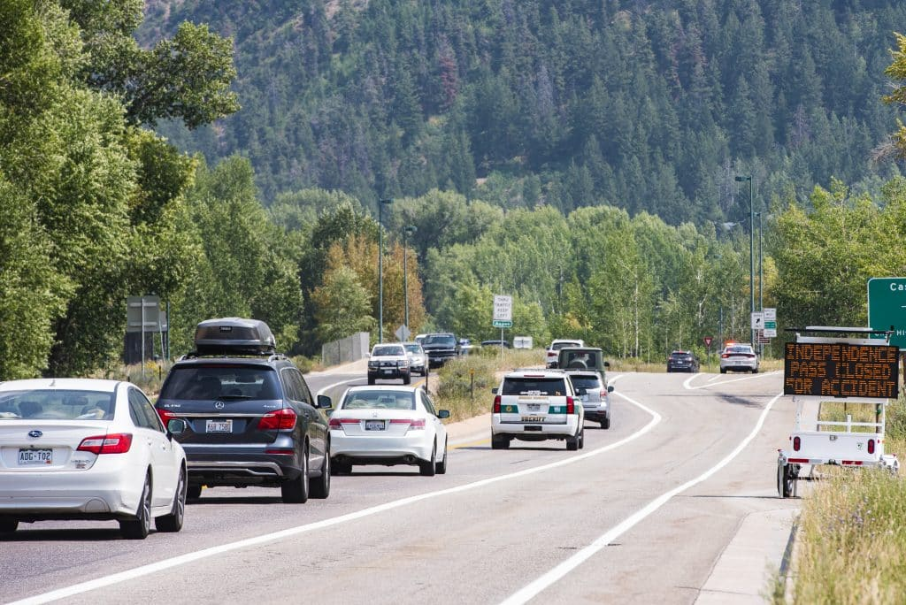 A car accident late Thursday night has closed Independence Pass as officials respond to the scene on Friday, August 21, 2020.