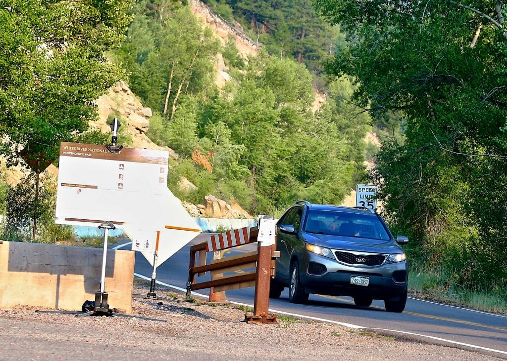 A car heads toward Aspen from Independence Pass on Friday, Aug. 14, 2020. (Photo by Austin Colbert/The Aspen Times)