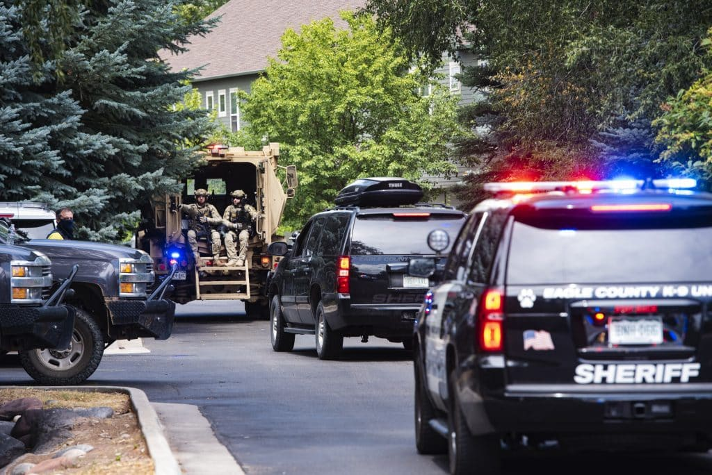 Eagle County's Special Operations Unit arrives to the scene to assist with bringing the final persons into custody on Evans Court in Basalt on Thursday, August 27, 2020.