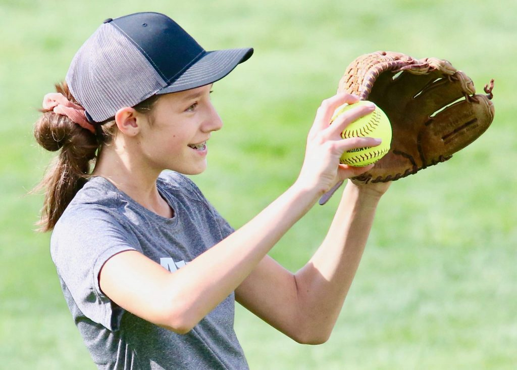 Aspen sophomore Ella Zane reacts after catching a fly ball against Basalt on Tuesday, Aug. 25, 2020, at Upper Moore Field. (Photo by Austin Colbert/The Aspen Times)