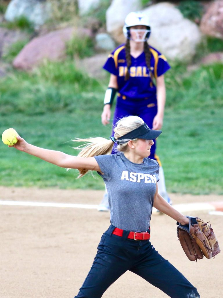 Aspen junior Hannah Smith pitches against Basalt on Tuesday, Aug. 25, 2020, at Upper Moore Field. (Photo by Austin Colbert/The Aspen Times)