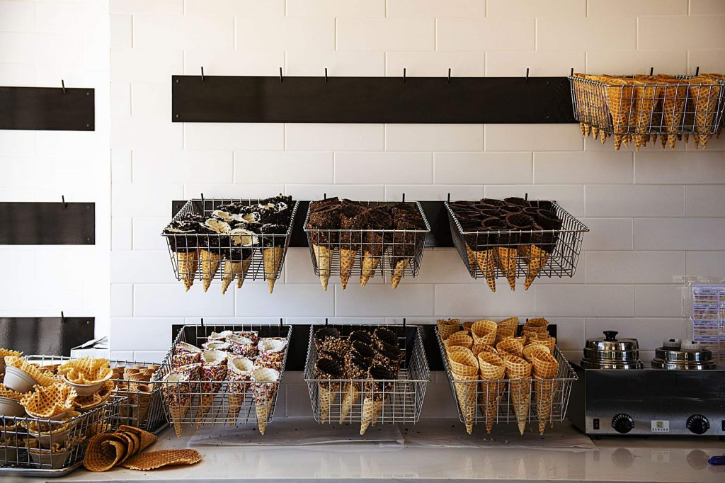 Fresh homemade waffle cones are displayed on the wall of Sundae in Snowmass Base Village on Thursday, July 30, 2020.
