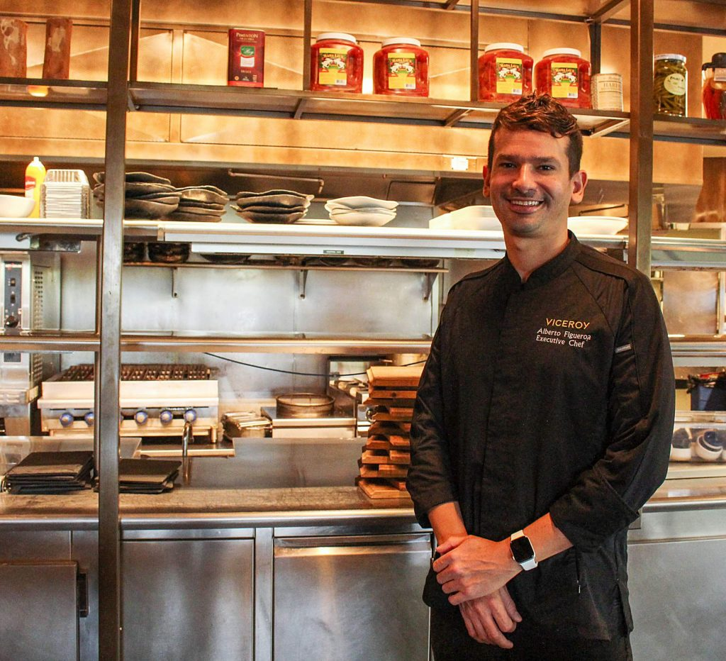 Alberto Figueroa, executive chef at the Viceroy Snowmass Resort, stands in the Toro Kitchen and Lounge restaurant's kitchen on Aug. 11, 2020. (Maddie Vincent/Snowmass Sun).