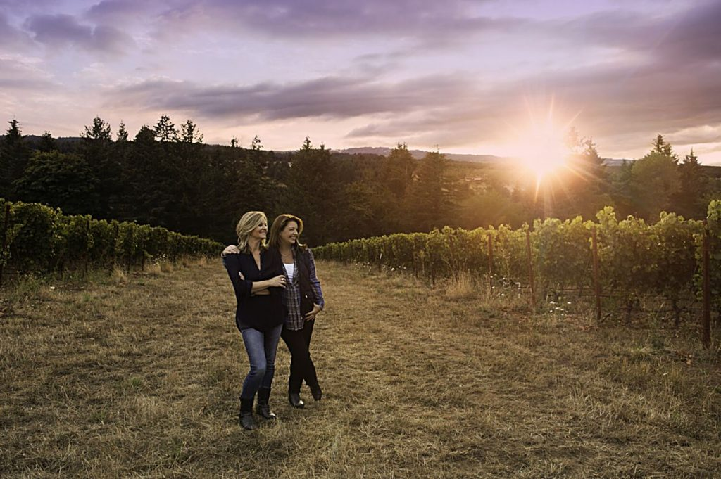 Sisters Anna Maria and Luisa Ponzi at their Ponzi Vineyards in Oregon.