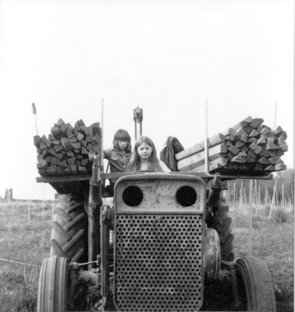 Anna Maria and Luisa Ponzi, the two sisters who today own Ponzi Vineyards, as children on the vineyard.