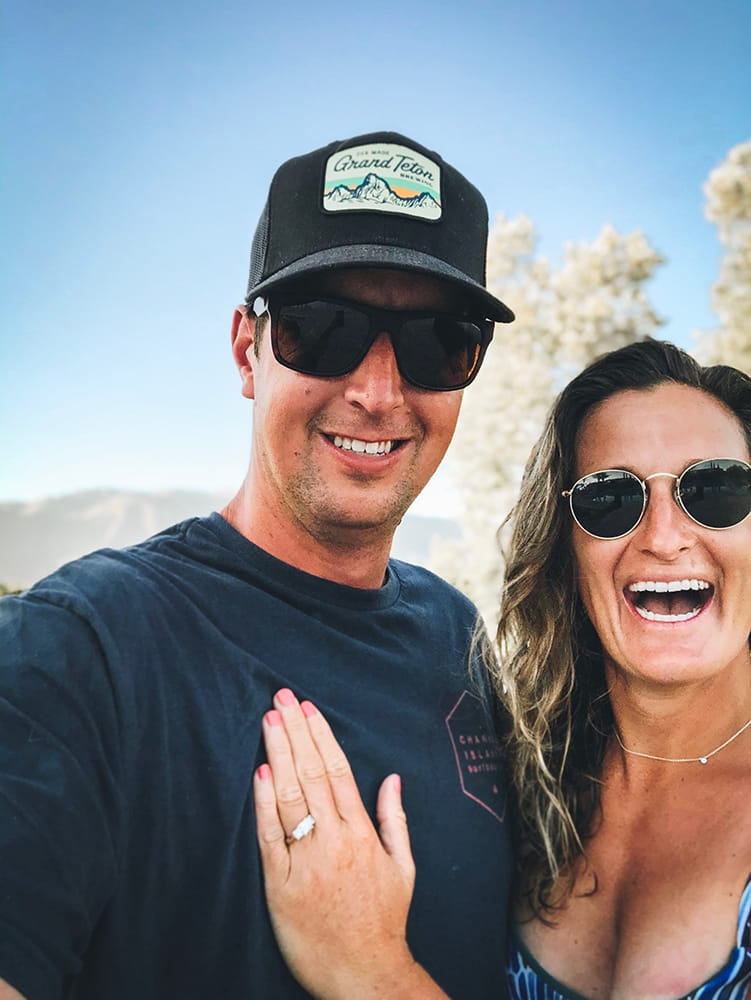 Dave De L'Arbre and Meaghan Lynch are all smiles in Ojai, California, after he popped the question on a hike in July.