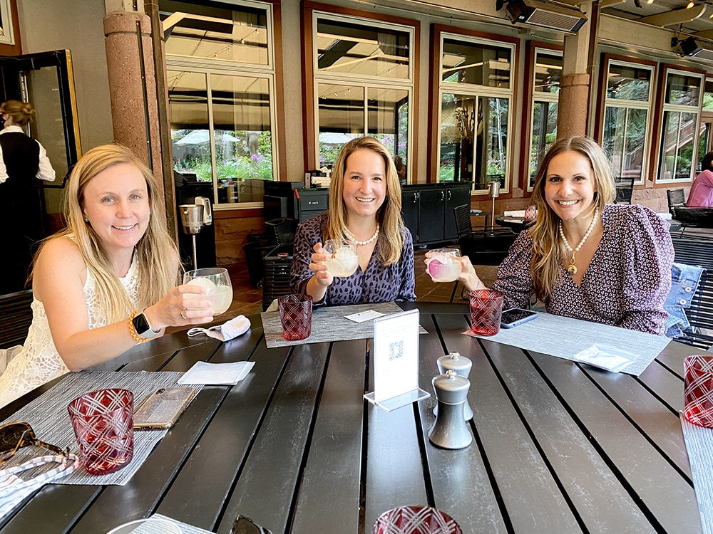 New Yorkers Beth Slater and Vicki Shapiro with Tara Seracka of San Francisco toasting to summertime in Aspen.
