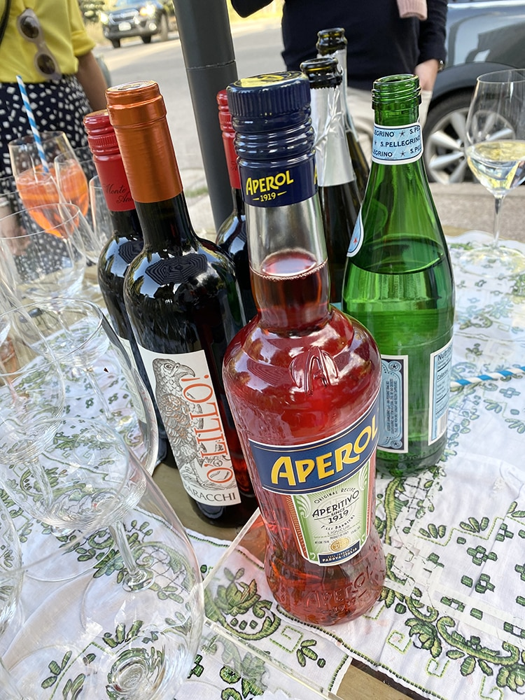 Sangiovese, San Pellegrino, Aperol - several of the Italian selections at the bar.