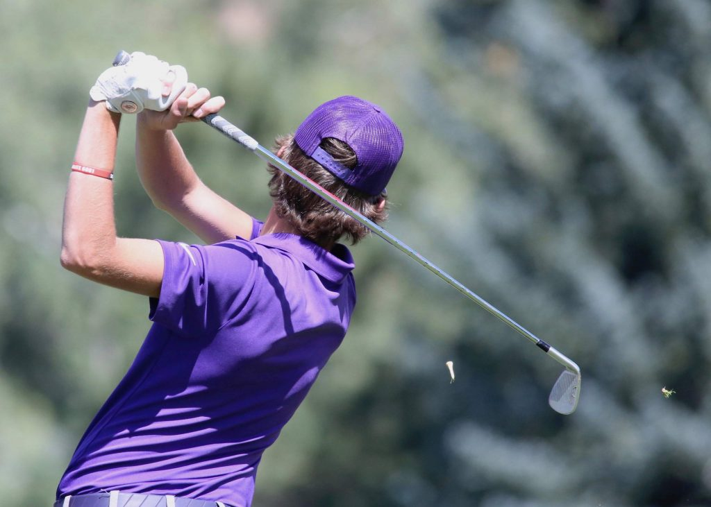 Basalt High School's Tyler Sims tees off on hole No. 17 during the Aspen High School golf tournament on Monday, Sept. 14, 2020, at Aspen Golf Club. (Photo by Austin Colbert/The Aspen Times)
