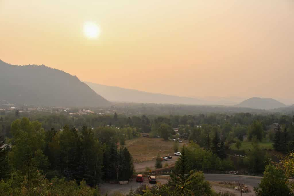 Wildfire smoke clouds the downvalley view from Smuggler Mountain Road in Aspen on Sept. 7, 2020. The heavy smoke visible in central and western Colorado Sept. 7 was blown over from wildfires burning in Utah, according to the National Weather Service.